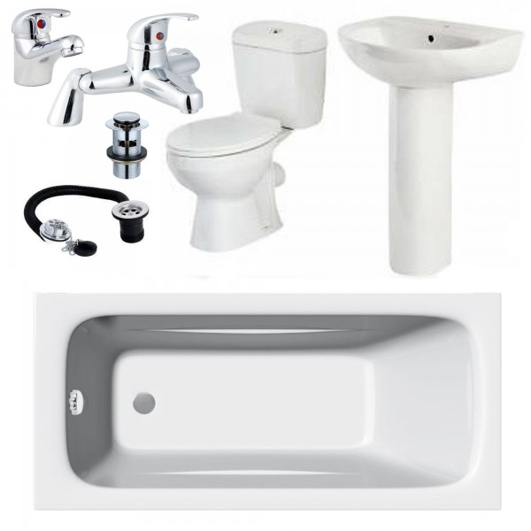 Bathroom Suite  Single Ended 1700 mm Bath Toilet Sink and Taps