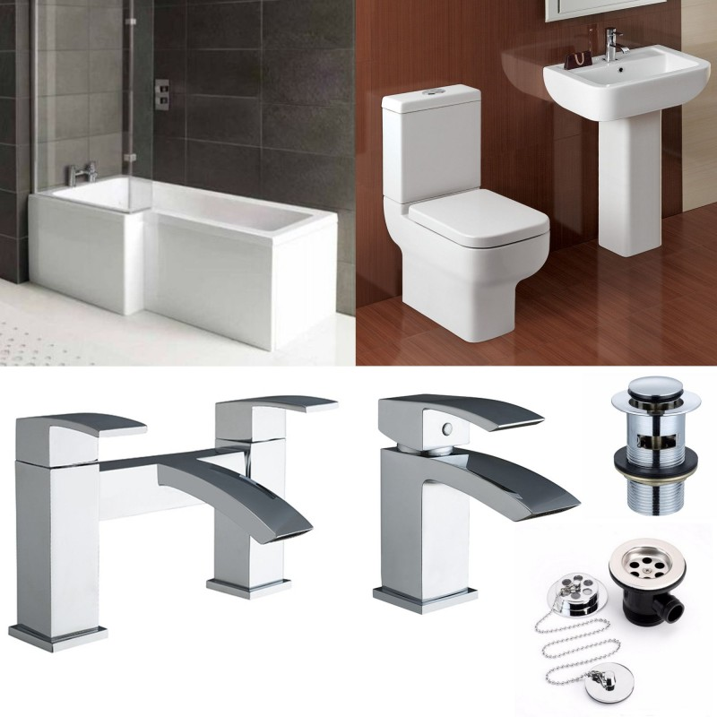 L-Shape Bathroom Suite With Designer Toilet And Sink And Taps
