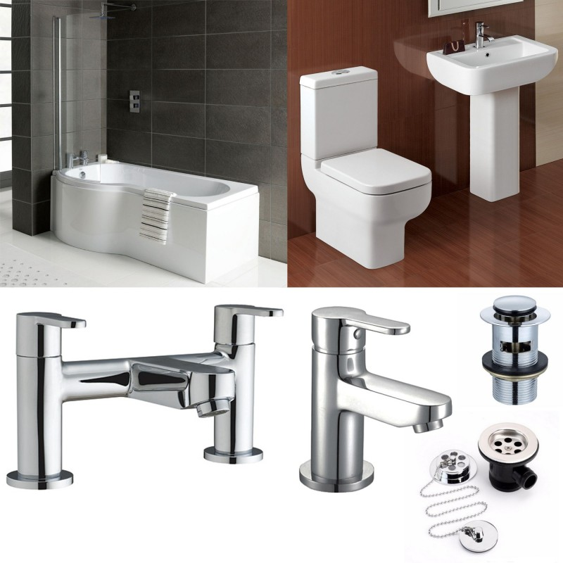 P Shape Bathroom Suite With Designer Toilet And Sink