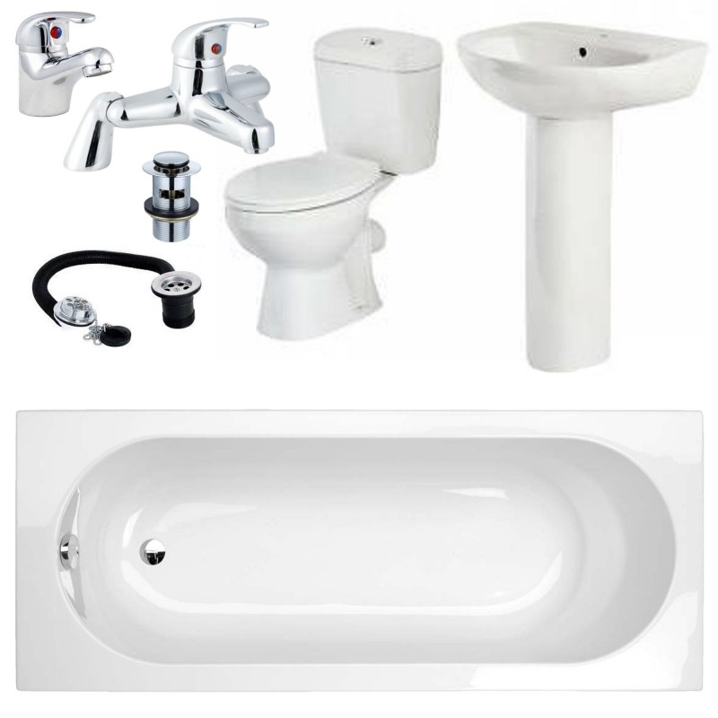 Bathroom Suite SIngle Ended Bath Toilet Sink and Taps