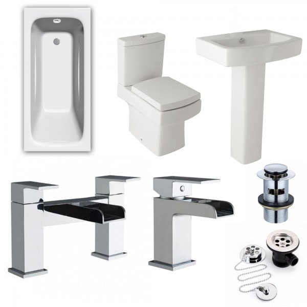 Bathroom suite with Single Ended Bath Square Toilet and Sink and Waterfall Taps