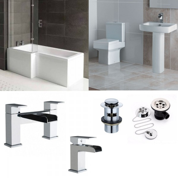 L Shape Bathroom Suite With Square Toilet And Sink Waterfall Taps