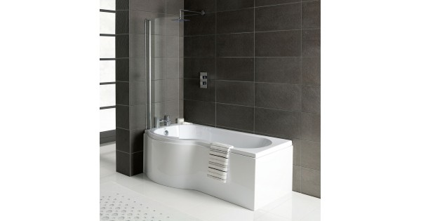 P Shaped Shower Bath 1700 X 850 With Screen And Panel