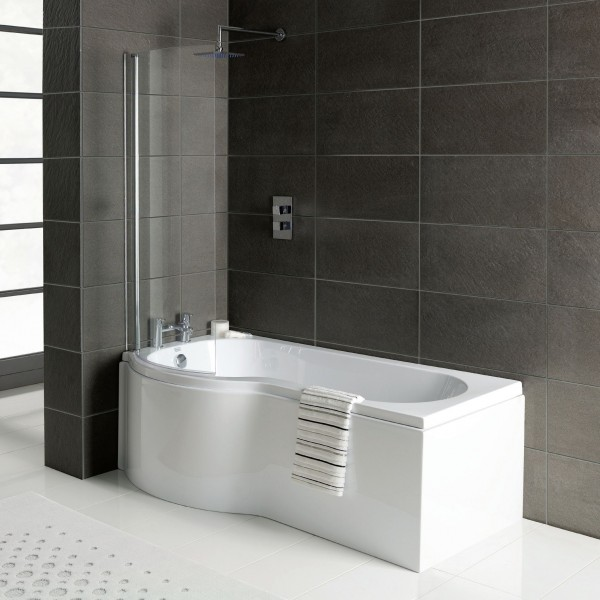 P Shaped Shower Bath 1700 x 850 mm with Screen and Panel
