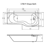P-Shape Bathroom suite with Toilet Sink and Shower Kit