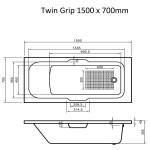 Single Ended Bath Twin Grip 1500 x 700 mm