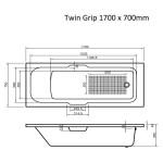 Single Ended Bath Twin Grip 1700 x 700 mm