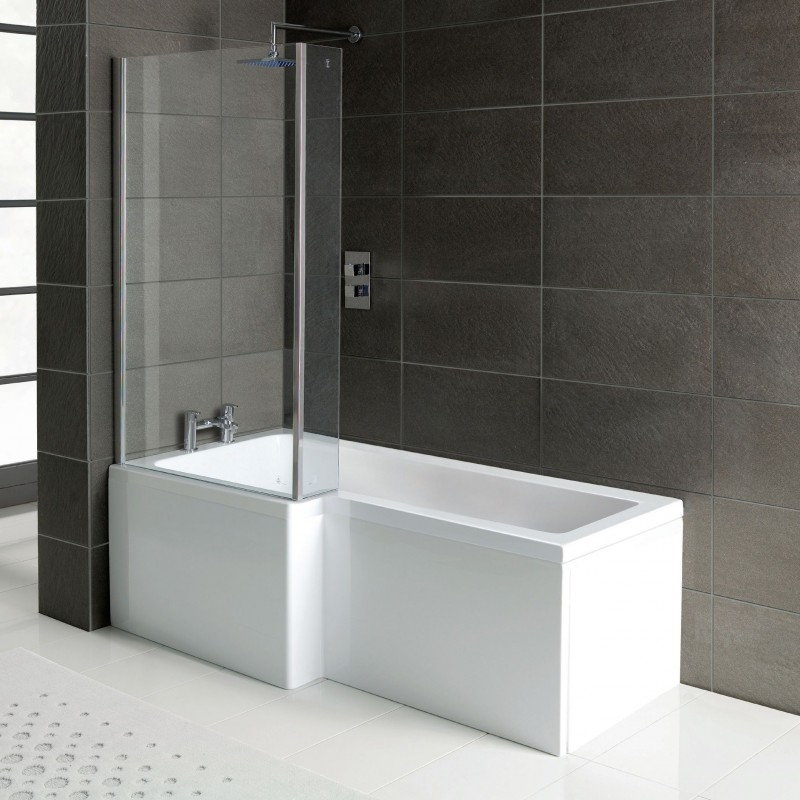 l shaped shower bath 1700 x 850 mm with screen and panel