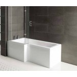 L-Shape Bathroom suite with Square Toilet and Sink Waterfall Taps set and Shower