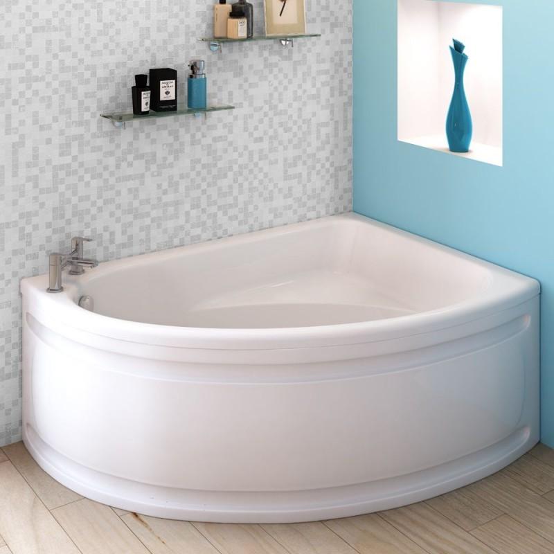 Single sided offset corner bath 1500 x 1050 mm for Small baths 1500