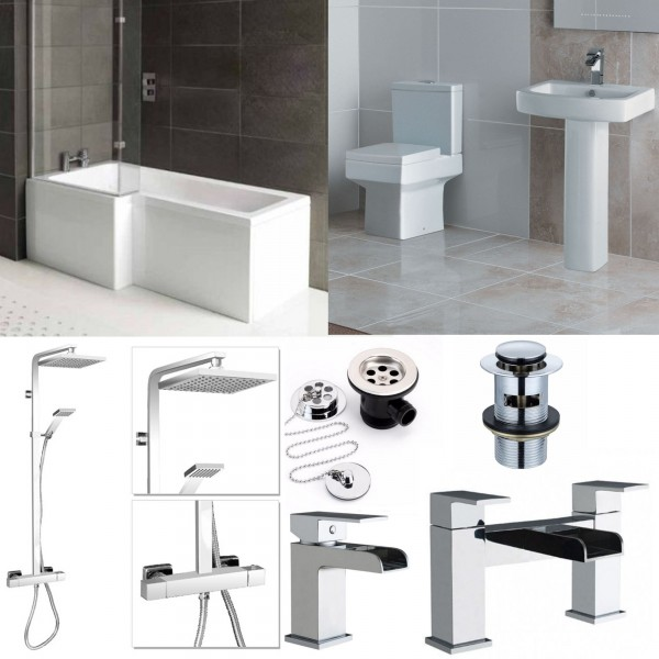 L Shape Bathroom Suite With Square Toilet And Sink