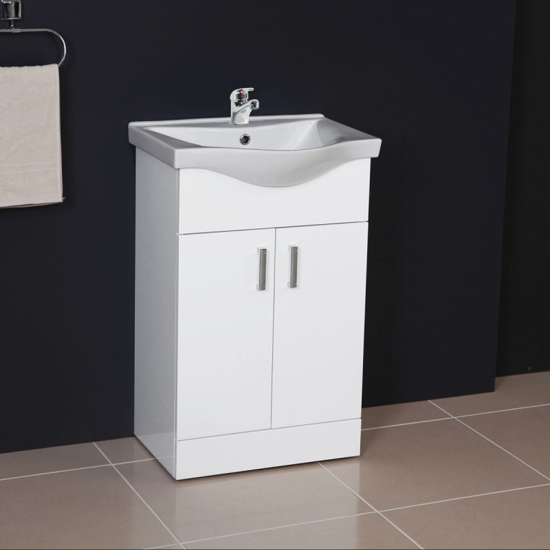 white gloss bathroom cabinets ardent vanity unit cabinet with basin 550 mm 21538