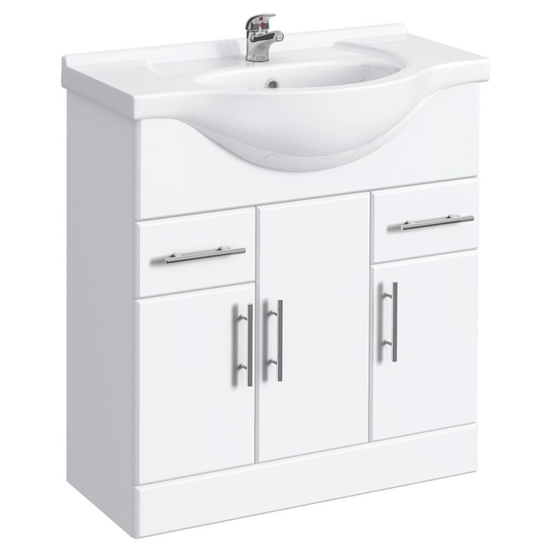 Classic vanity unit cabinet with basin 750 mm for Bathroom cabinet 750