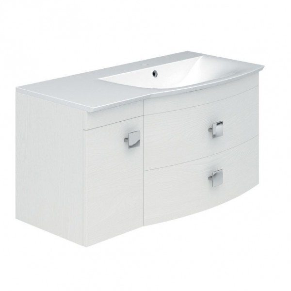 Baileys 1000 mm Textured White Wall Mounted Cabinet and Basin